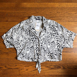 Basil Lola Black White Leopard Front Tie Top NWT